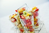 Fruit salad in glasses