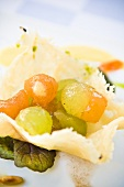Melon salad in parmesan dishes