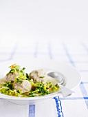 Vegetable soup with liver dumplings