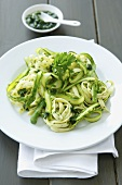 Tagliatelle with asparagus and ransom pesto