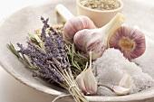 Lavender, rosemary, salt and garlic