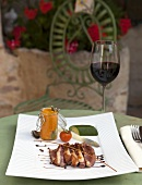 Duck fillet with sweet potatoes in a restaurant (Tarn, France)