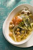 Minestra di ceci e frutti di mare (chickpea soup)