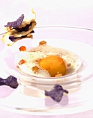 Jerusalem artichokes with an emulsion of porcini mushrooms and egg yolk and vegetable chips