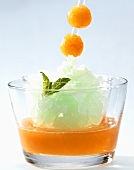 Melon and mango gazpacho with mint granita