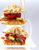 Roasted vegetable, ham and parmesan sandwiches