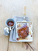 Grilled pork chop with a sweet chilli sauce