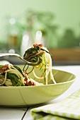 Spaghetti agretti (pasta with erba stella, Italy)