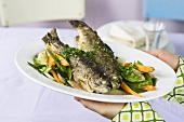 Trote primavera (trout with spring vegetables, Italy)