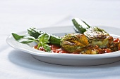 Fiori di zucchine ripieni (stuffed courgette flowers, Italy)