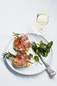 Saltimbocca di pescatrice (fish medallions with ham)