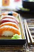 Sushi with wasabi paste