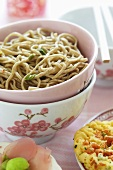 Japanese noodles with spring onions
