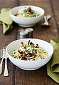 Linguine with broad beans, bacon and mint