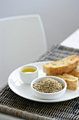 Dukkah (a nut and spice mixture), olive oil and bread