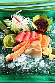 Sashimi with salmon, tuna, prawns and amber fish