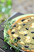 Spinach tart with feta and olives
