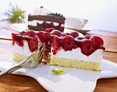A slice of frozen raspberry cake