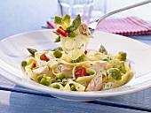 Tagliatelle with salmon, asparagus and Romanesco broccoli