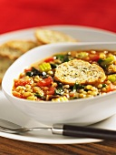 Minestrone with grains of corn