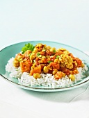 Tari Aloo (vegetable dish, India) on a bed of rice