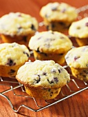 Blueberry and lemon muffins on a wire rack