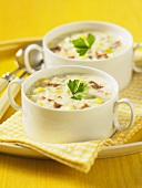 Crab and sweetcorn soup in soup bowls