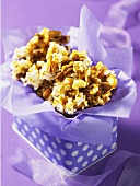 Popcorn and hazelnuts in a gift box