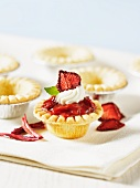 Mini strawberry and rhubarb tartlets