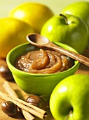 Apple butter with ingredients