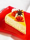 A slice of blood orange cheesecake