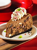 A slice of peppermint and chocolate cheesecake for Christmas