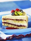 A slice of white chocolate and raspberry cheesecake