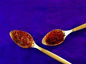 Saffron spoons on two spoons