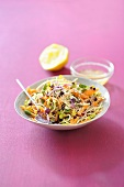Carrot and bean sprout salad with bran and lemons