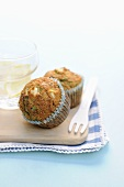 A bran muffin with chard and cream cheese