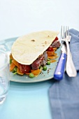 Fajitas with beef and vegetables