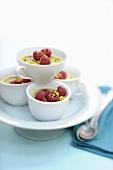 Pistachio cream with raspberries and bran