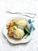 Spinach and pancetta muffins with a poached egg and mustard sauce
