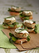 Fish and crab burgers with wasabi mayonnaise and chives