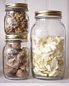 Dried fruits in screw top jars