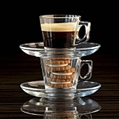 Espresso biscuits and espresso in glass cups