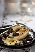 Chicory with morel mushrooms
