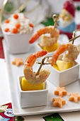 Prawn and fruit kebabs with basmati rice