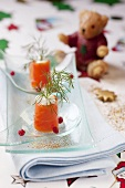 Salmon trout rolls with creme fraiche and dill