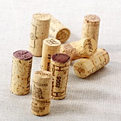 Wine corks on a linen cloth