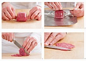 Steps for slicing frozen beef fillet thinly