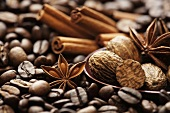 Coffee with assorted spices for enhancing the aroma