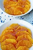 Orange slices with caramel sauce