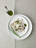Weisswurst carpaccio with parsley-mustard pesto